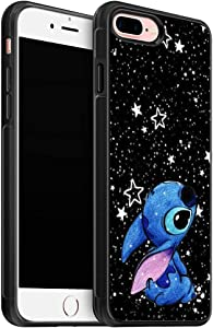 Fashion Stitch Soft TPU Cover Case for iPhone 8 Plus Case (2017) / Designed for iPhone 7 Plus Case (2016) - Black