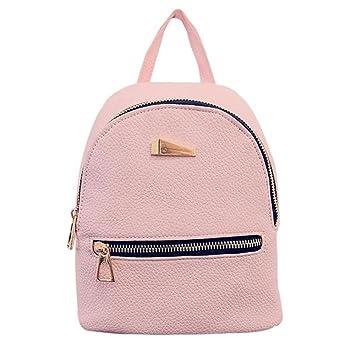 5491e56ea1 Lady Mini Backpack Fashion Casual Pu Leather Travel Handbag Rucksack  Daypack School Shoulder Bag Pink