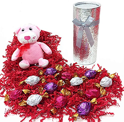 Silver Tube Godiva Mothers Day Holiday Gift Box - Gourmet Truffles Chocolate Candy & Teddy Bear Stuffed Animal (P)