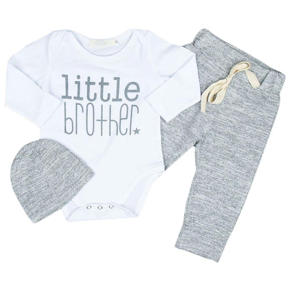 3PCS Baby Romper Letter Playsuit Pants Hat Outfit Tfan