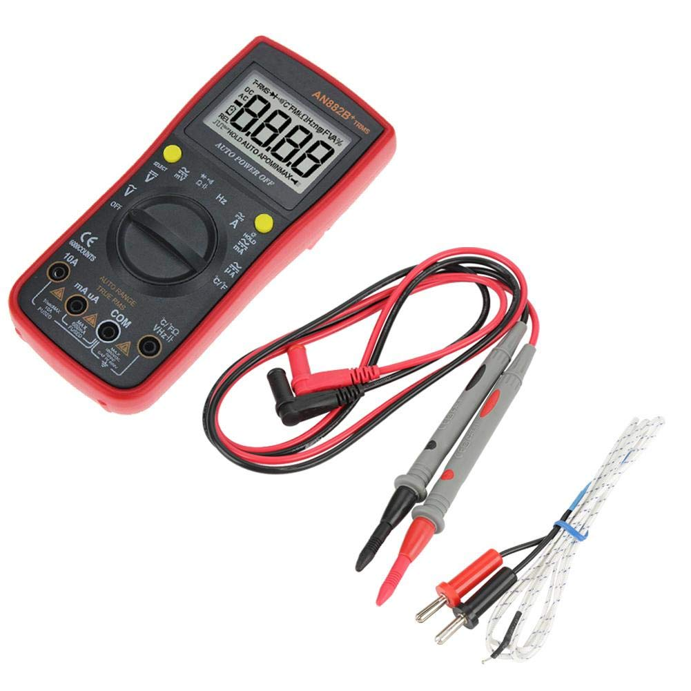 Akozon Digital Multimeter ANENG AN882B DC/AC Voltage Current Resistance Meter- True-RMS Auto-Ranging -Temperature Measurement-18 Test Probe Alligator Clip Test Leads(Red)
