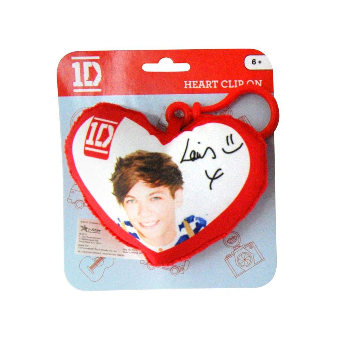 1D One Direction Plush Heart Back Pack Clip Louis by Musical Artist