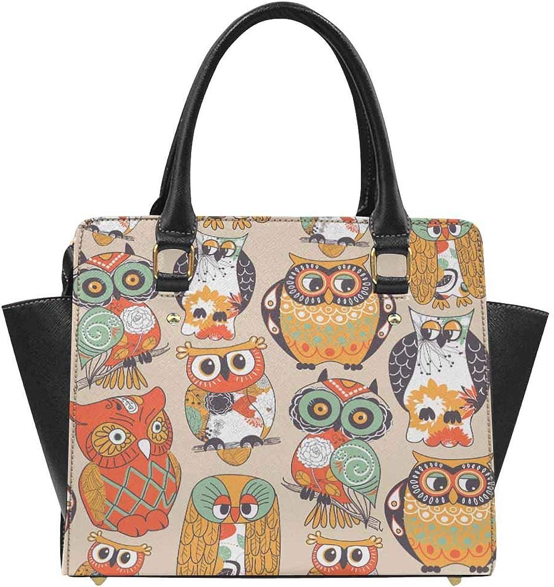 INTERESTPRINT Owl Pattern Women Top Handle Satchel Handbags Tote Purse