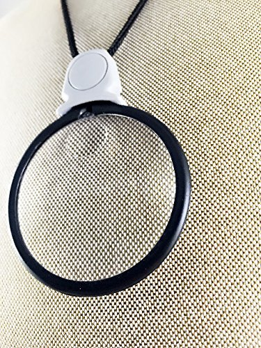 Acrylic Glass Necklace (MagniPros 3x Magnifying Glass Necklace/Pendant Magnifier with 6x Spot Lens)