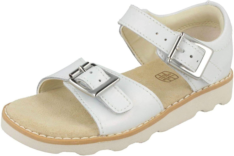 BNIB Clarks Girls Toddler Crown Bloom Coral Leather Air Spring Sandals F//G