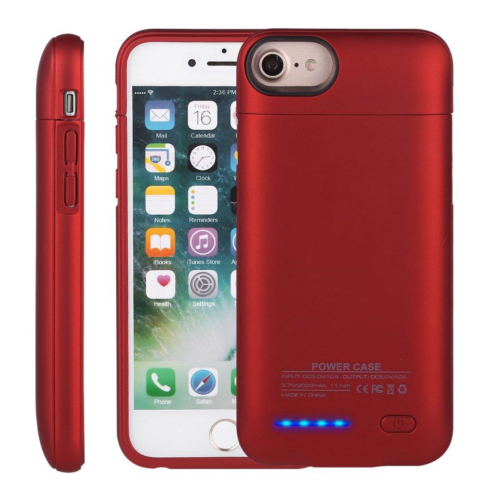 iPhone 7 /6s/6 Plusバッテリーケース、Mbuynowポータブル超薄型磁気充電式充電ケースバックアップバッテリ電源銀行充電ケース4200 mAh 5.2インチ 5.5inch レッド B074Z5JPY4 レッド レッド