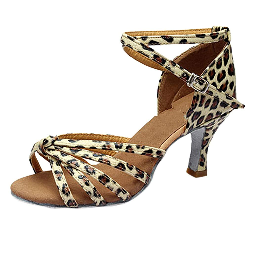 KESEELY 2019 Girl Latin Dance Shoes Med Heels Satin Party Tango Salsa Dance Open Buckle Strap Shoes Brown