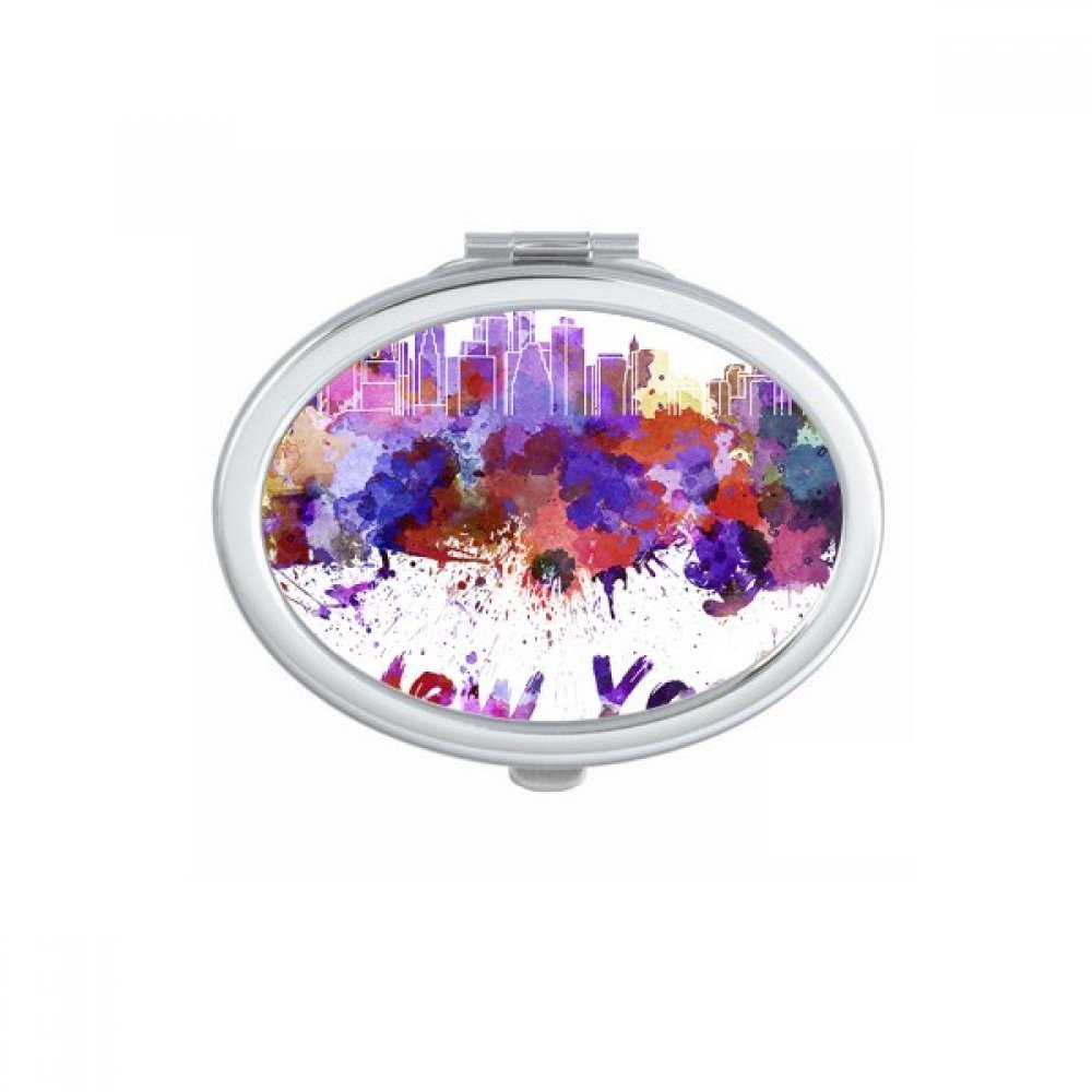 New York America Country City Watercolor Illustration Oval Compact Makeup Pocket Mirror Portable Cute Small Hand Mirrors Gift
