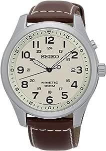 Seiko Men's Kinetic SKA723 Silver Leather Dress Watch