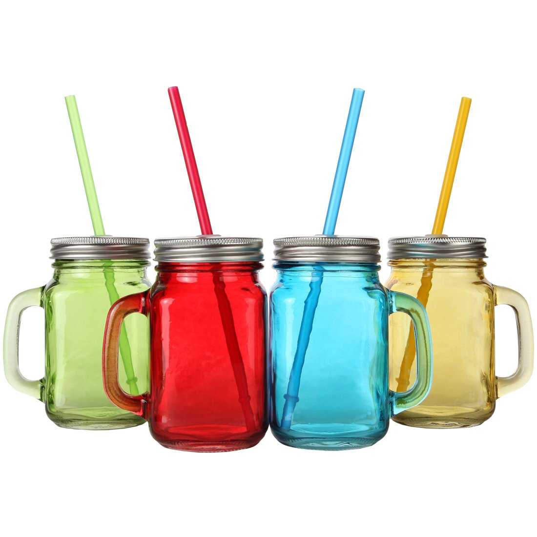 Lily's Home Old Fashioned Mason Jar Mugs with Handles, Tin Lids and Matching Reusable Plastic Straws, Assorted Solid Colors (16 oz. Each, Set of 4)