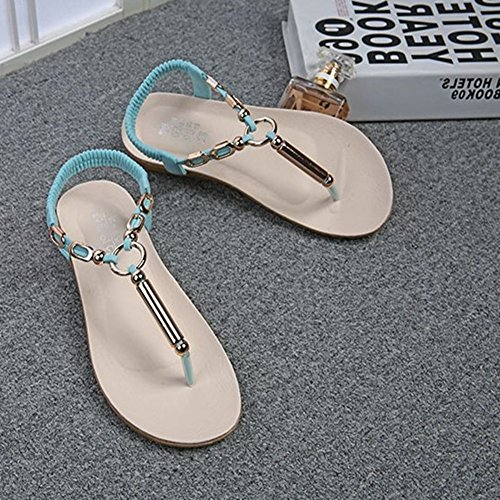 Fashion String On Flat Bohemia Ladies Women Beaded Blue Sandal for Womens Comfy Flip Flops Slip Walking Dressy Thongs 15wRtvc