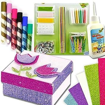 purpurina Caja Juego de manualidades - con 10 cajas y zahlreichem accesorios decorativos, pegamento, purpurina Artículo.....: Amazon.es: Juguetes y juegos