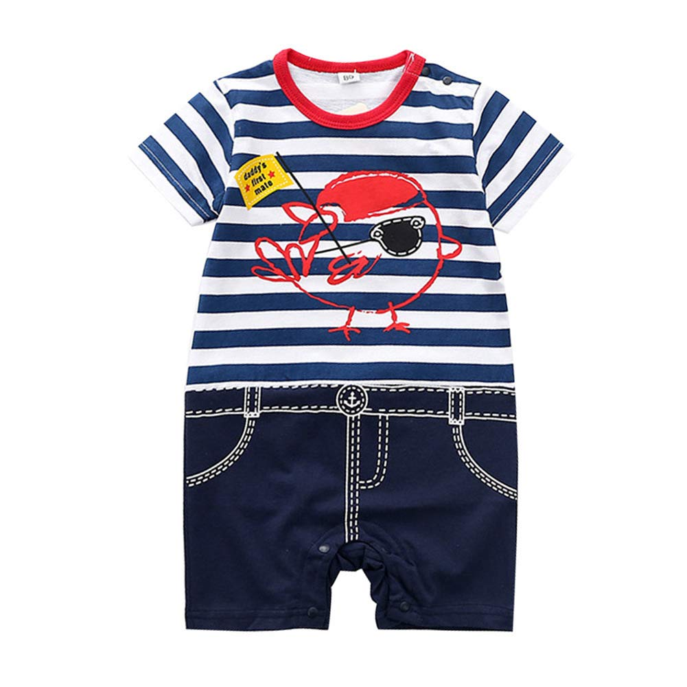 DZH Enjoy Infant Baby Boys Girls Cotton Toddler Jumpsuit Pirate Print Outgoing Romper for Summer 0-24 Months