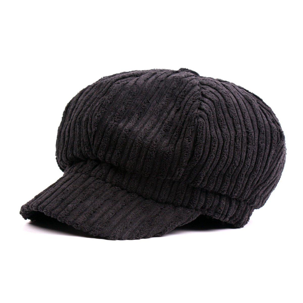 ZLSLZ Womens Corduroy Striped Octagonal Ivy Newsboy Cabbie Gatsby Painter Hats Caps For Women Black