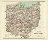 1878 Old Historical Detailed Wall Land Map Ohio - Various Sizes Reprint