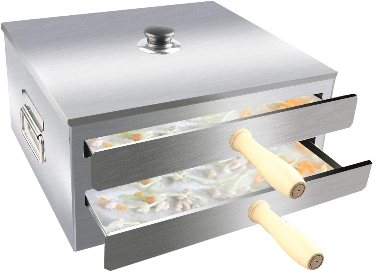 CABINAHOME Rice Noodle Roll Machine, Chinese Rice Noodle Roll Food Steamer, Cantonese Cuisine Household Cookware with Openable Top Lid and Wooden Anti-scalding Handle and 3 Stainless Steel Trays