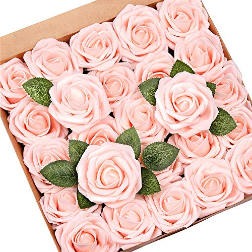 Mocoosy 50Pcs Artificial Roses Flower for Decoration, Blush Pink Roses Real Looking Foam Roses Bulk w/Stem for Wedding Bouquets Centerpieces Flower Arrangements Home Party Decorations