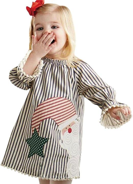 Toddler Kids Girls Christmas Santa Striped Princess Dress Outfits Clothes 1-5T