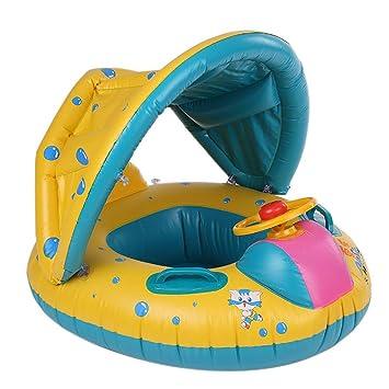 Uoging Bebé Flotador Anillo de natación Inflable, Protección UV Flotador Barco de Natación con Ajustable Quitasol para 6-36 Meses Bebé: Amazon.es: Juguetes ...