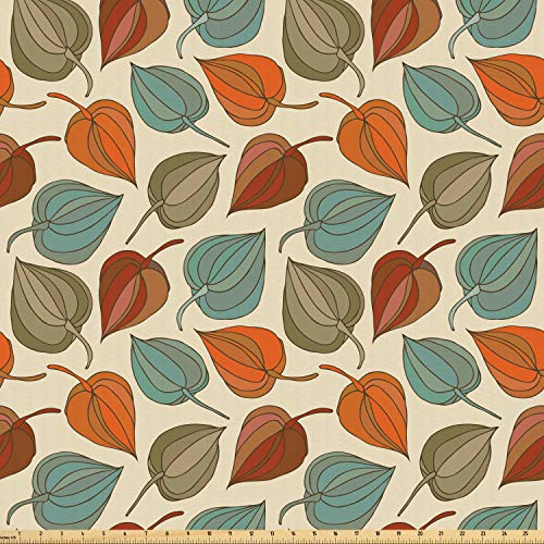 Ambesonne Floral Fabric by The Yard, Onion Flower Leaves Mother Nature in Autumn Art Nouveau Winter Cherry Rural Pattern, Microfiber Fabric for Arts and Crafts Textiles & Decor, 3 Yards, Multicolor