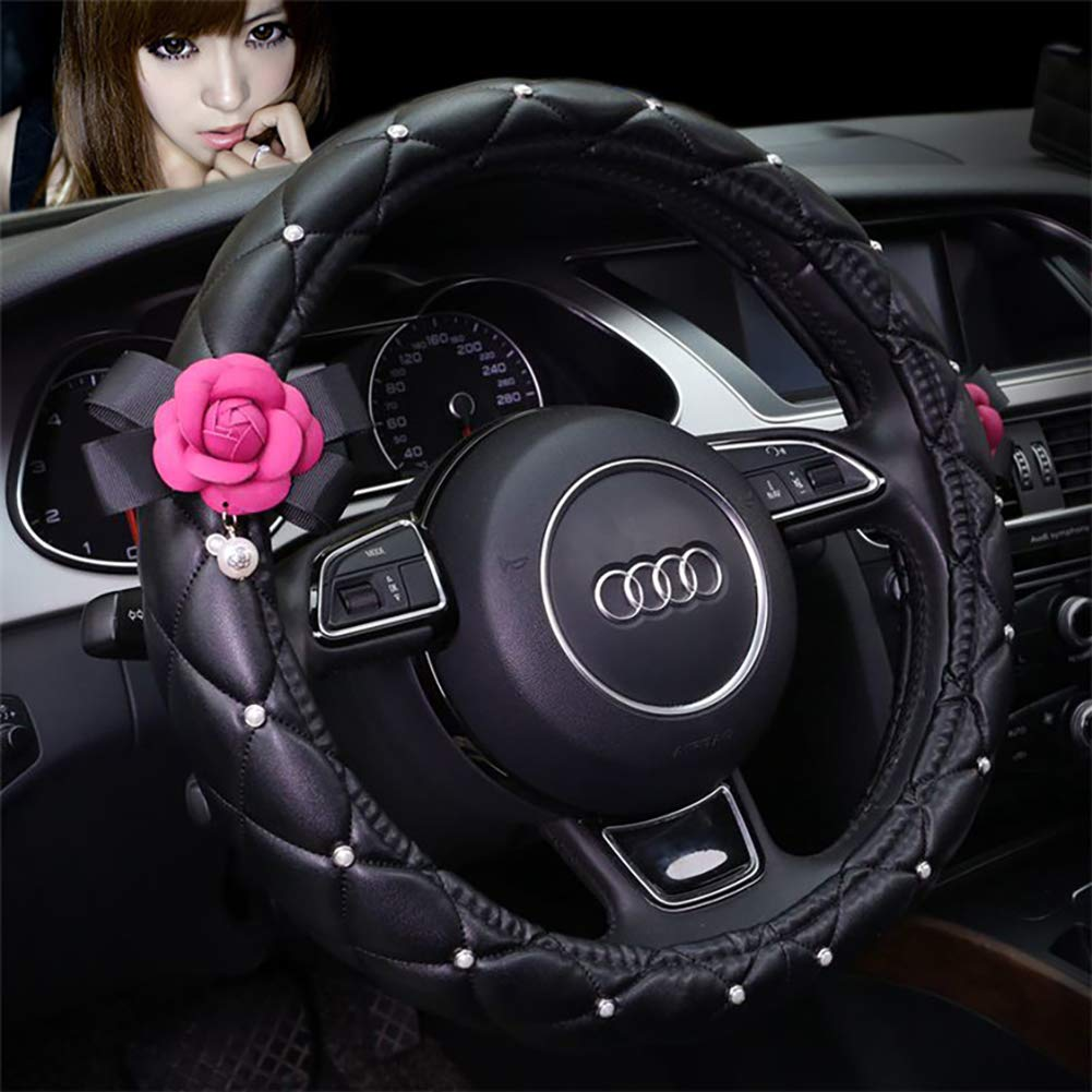 Coprivolante Auto Donna/Coprivolante Per Auto Universale Per Quattro Stagioni 38 Cm Femmina Carino Ed Elegante Coprivolanti Per Auto,White