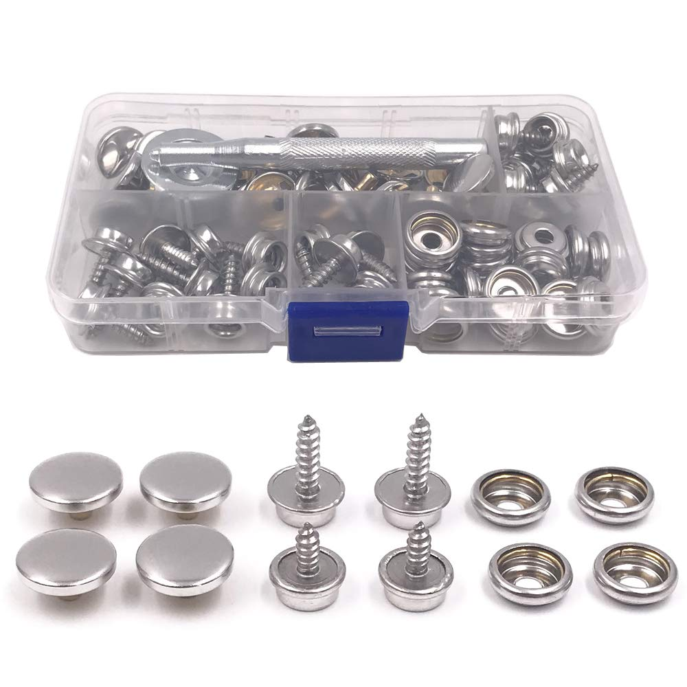 25 Sets Heavy Duty Metal Snaps Button for Boat Canvas with 2 Pcs Setting Tool by Seloky Marine Grade, 3//8 Socket,3//8 Screw, 5//8 Screw 75 Pcs Snaps Fastener Screw Snaps
