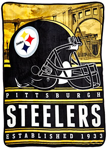 Officially Licensed NFL Pittsburgh Steelers Stacked Silk Touch Throw Blanket, 60