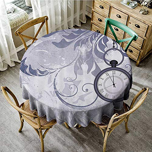(familytaste Tabletop Cloth Round Antique Decor Collection,A Pocket Watch on Chain on Classic Ornamental Background with Silhouette of Leaves,Purple D 70
