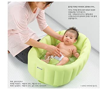 Amazon.com : Richell Baby Soft Bath Newborn To Toddler Tub L Green ...