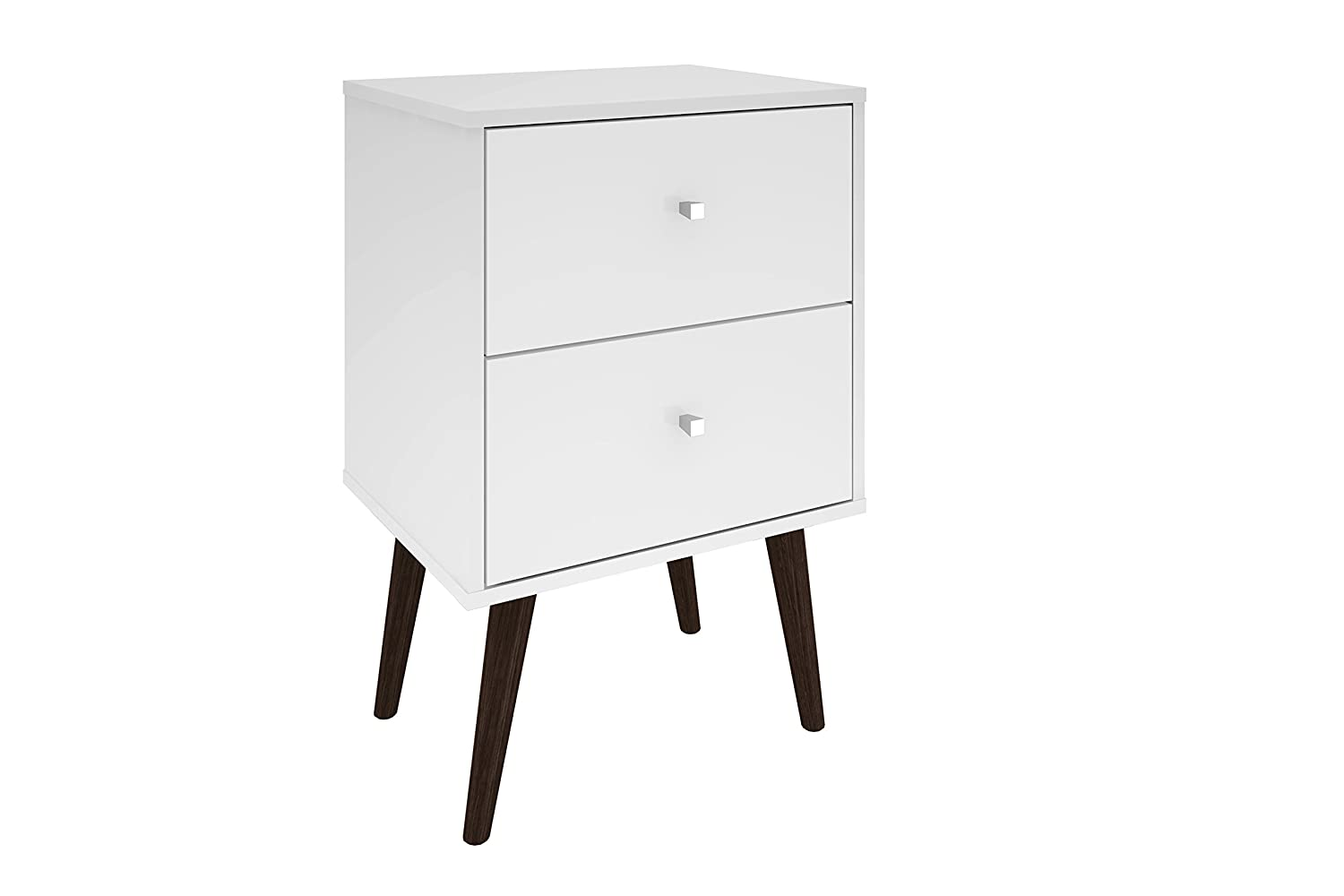 Manhattan Comfort Liberty Collection Mid Century Modern Nightstand With Two Drawers, Splayed Legs, White
