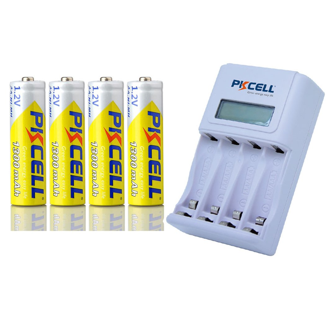 4pcs Rechargeable AA Nimh Battery 1.2v 1300mah + 1pc Fast Charger