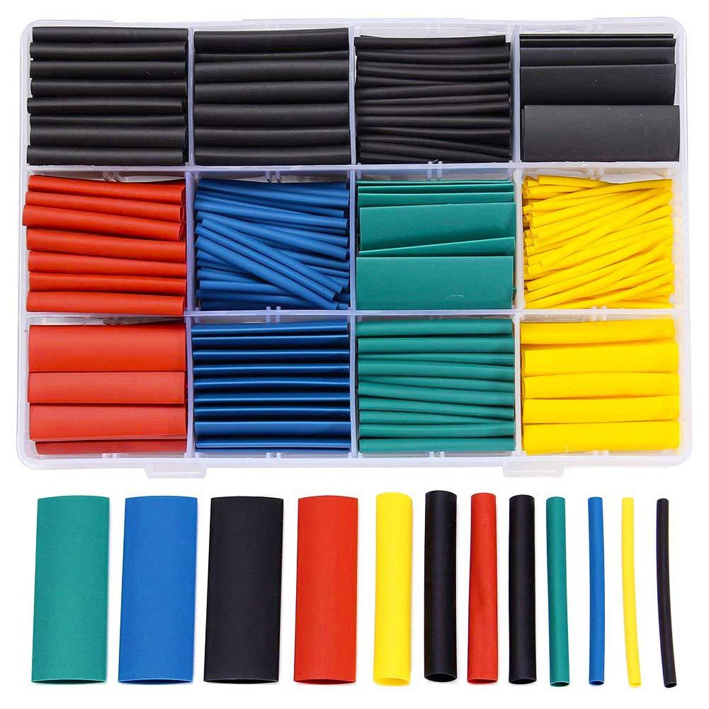 WENTS 530 tubos de aislamiento Shrink Wrap Surtido 2:1 Shrinkage Ratio Shrink Tube Tubos termorretr/áctiles 5 colores 11 tama/ños Wrap Heat Shrink Cable Sleeve