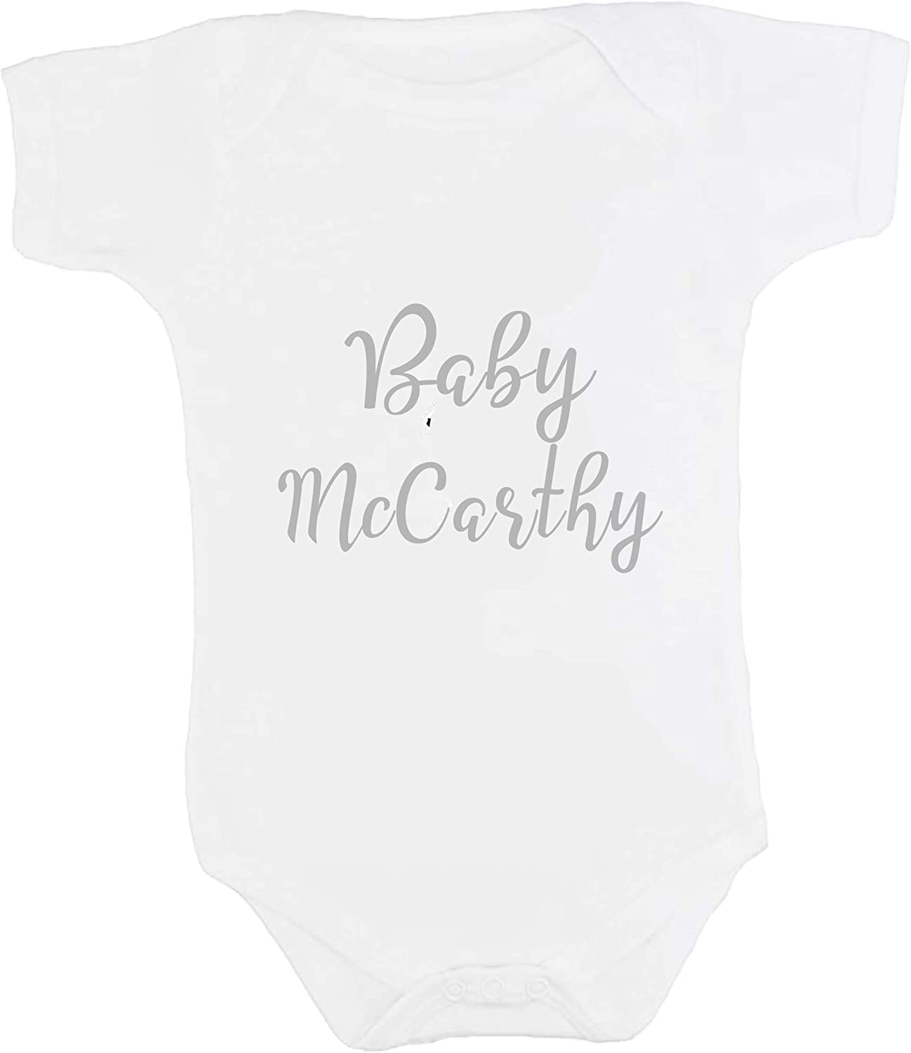 Personalised Neutral Baby Announcement Vest 0-3 Months White