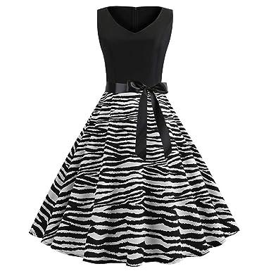 22ad96363e046c ALIKEEY Femmes Vintage des AnnéEs 1950 RéTro sans Manches Col en V ...