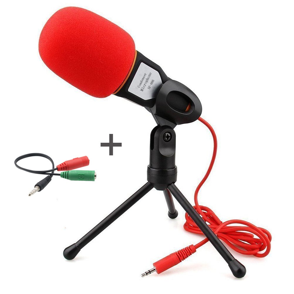 Professional Condenser Microphone,Buycitky Mic with Stand for PC Laptop Skype Recording with Windscreen Sponge Sleeve by Buycitky