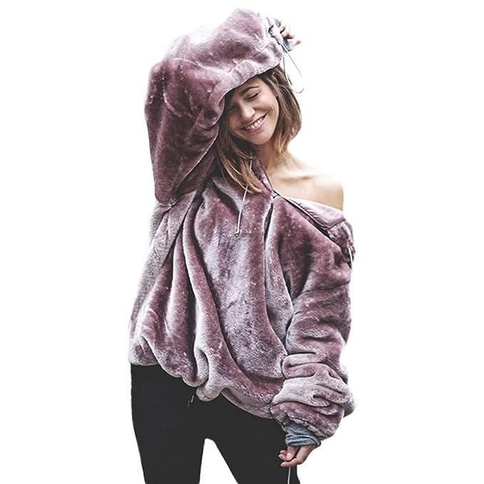 ❤ Suéter Esponjoso para Mujer, Moda Suave y cálida Suelta Outwear Manga Larga Sudadera con Capucha y Capa de Gran tamaño: Amazon.es: Ropa y accesorios