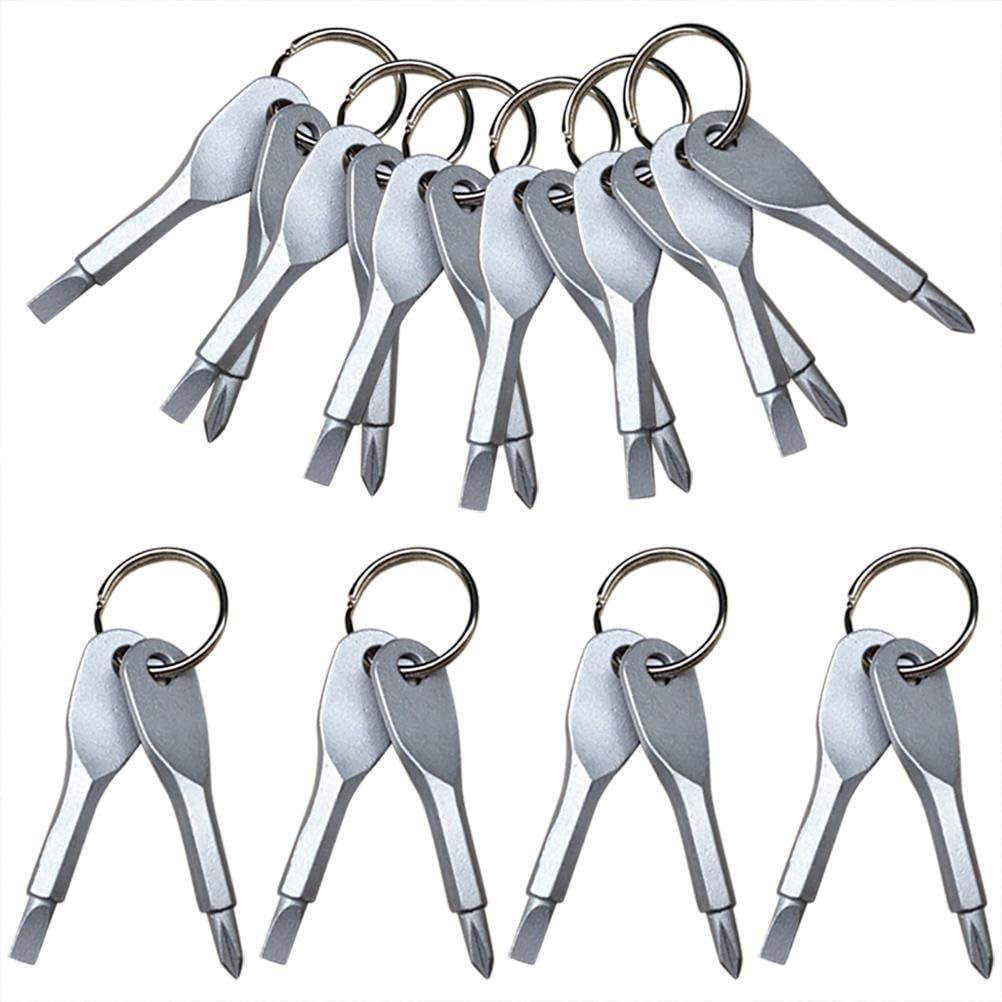 CoscosX 10 Sets Portable EDC Keys Ring Cross and Slot Type Screwdriver Set Snowflakes Bottle Opener Bicycle Bike Repair Tool Mens Socks Key Multifunction Key Chain Stainless Keychain Pocket Tool