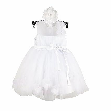 Recién nacido niñas 1 año cumpleaños fiesta boda flores niña vestido + diadema 1302 blanco