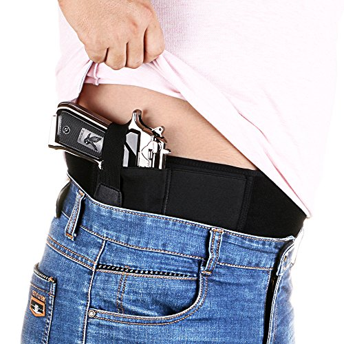 Depring Neoprene Belly Band Holster Adjustable Comfortable Concealed Carry Pistol Holster for Women Men Fits up to 40 inch Circumference Fits Mid Compact Subcompact Hand Guns Revolvers