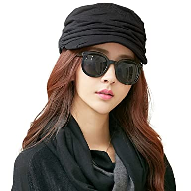41d41f75b696e Siggi Cotton Cloche Newsboy Cabbie Beret Chemo Caps for Women Winter Hat  for Cancer Patients Black