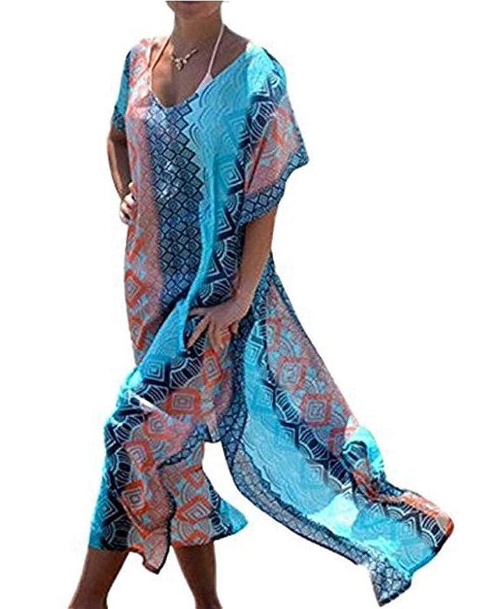 LOBTY Damen Strandponcho Sommer Kleid Überwurf Kaftan Strandkleid Bikini Tunika Cover Up Boho