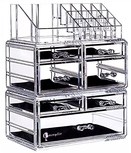 Cq acrylic 7 Drawers and 16 Grid Makeup Organizer,9.5