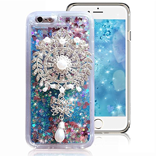 Rejected all traditions 3D Design Dynamic Float Liquid Glitter Diamond Sun Flower Quicksand Hard Case Cover + Crystal Chain Pendant For iPhone 6 Plus/6S Plus - - Green Medium Hard Dark