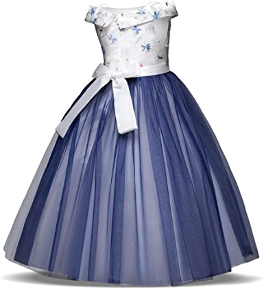 Fabal Little Girls Off Shoulder Princess Dress Formal Party Dress
