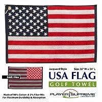"USA American Flag Stars and Stripes Jacquard Golf Towel 16"" x 24"""