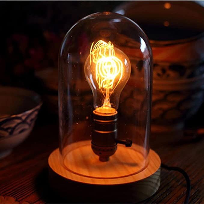 1 opinioni per SHDT Retro base in legno invecchiato e lampada da tavolo a cupola chiara
