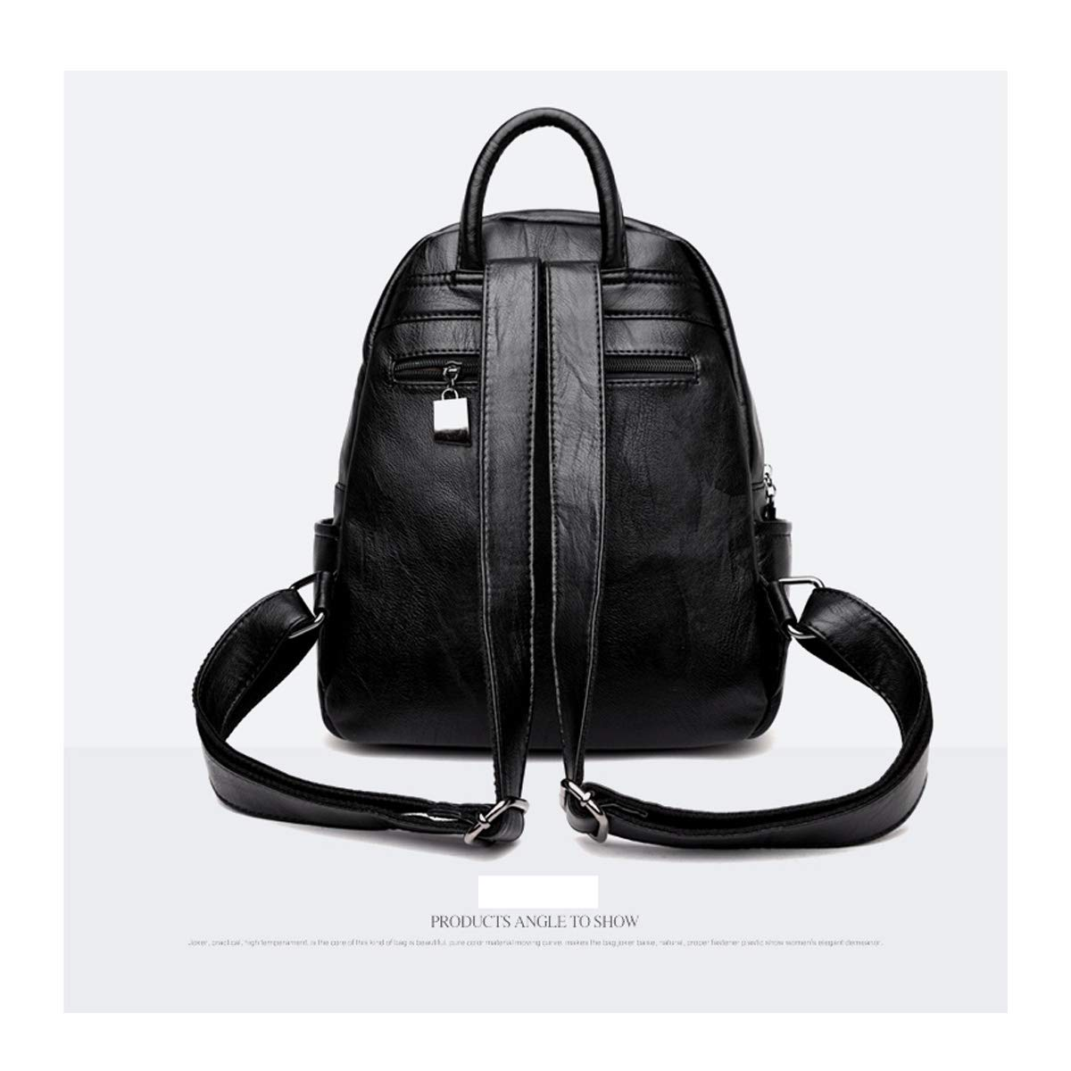 Simple Fashion Haoyushangmao Girls Multifunctional Backpack for Daily Travel//Tourism//School//Work//Fashion//Leisure Black // // Blue//Red//Bronze Color : Black, Size : 26cm30cm14cm PU Leather