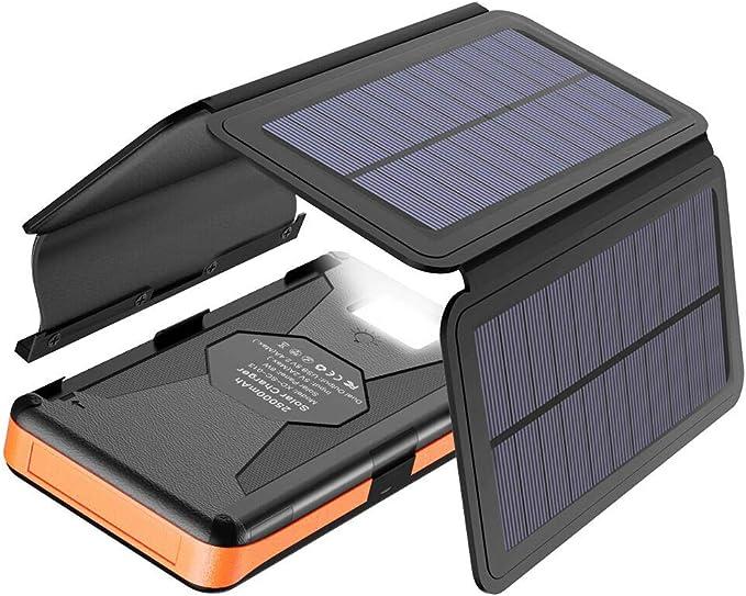 X-DRAGON Solar Powerbank 25000 mAh Solarladegerät con 4 Solarzellen, LED Taschenlampe y estanco batería externa para el teléfono móvil i-Phone ...