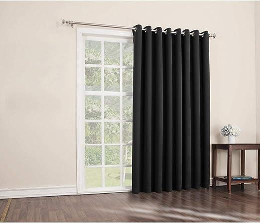 1 pieza 84 cm negro Color sólido cortina de puerta corredera, Gris ...