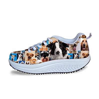 bbf257298f24f CHAQLIN Cute Animal Pattern Womens Swing Shoes 3D Pugs Puzzle ...